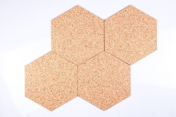 Kork Tavlor Hexagon Natural