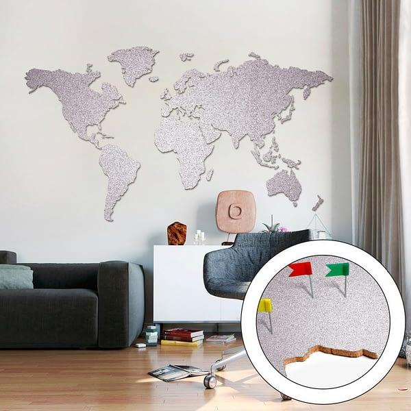 Korktavla Världskarta Stor Silver