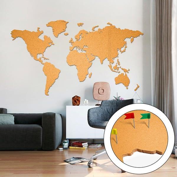 Korktavla Världskarta Stor Gul