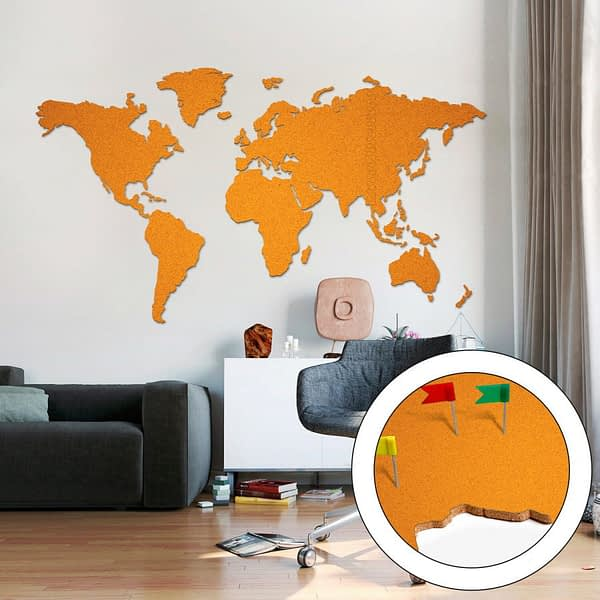Korktavla Världskarta Orange 200x105cm